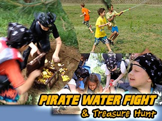 Pirate Water fight and treasure hunt